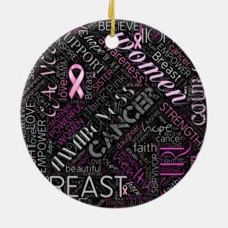 Breast Cancer Awareness Word Cloud ID261 Christmas Ornament