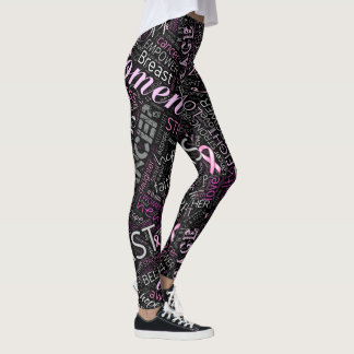 Breast Cancer Awareness Word Cloud ID261 Leggings