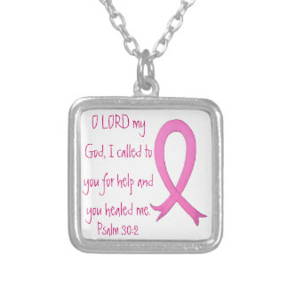 Breast Cancer bible verse Psalm 30:2 neck Necklace