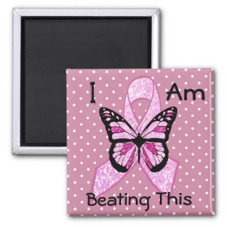 Breast Cancer Butterfl and Awareness Ribbon Magnet