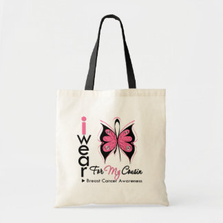 Breast Cancer Butterfly Ribbon For My Cousin Budget Tote Bag