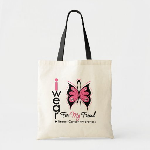 Breast Cancer Butterfly Ribbon For My Friend Tote Bags