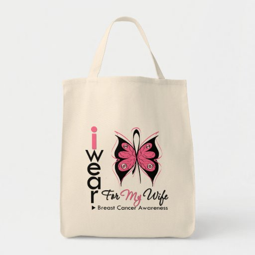 Breast Cancer Butterfly Ribbon For My Wife Tote Bags