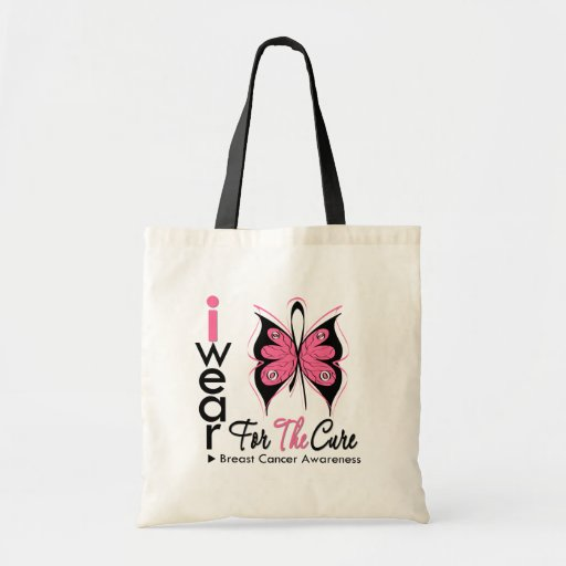 Breast Cancer Butterfly Ribbon For The Cure Tote Bag