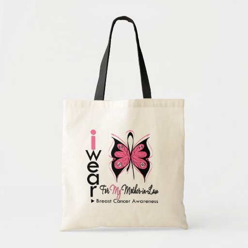 Breast Cancer Butterfly Ribbon Mother in Law Tote Bags