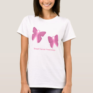 Breast cancer butterfly ribbons shirt