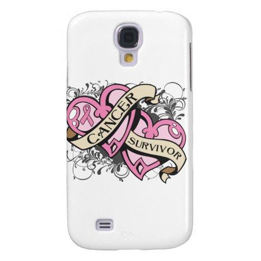 Breast Cancer Cancer Survivor Dual Hearts Samsung Galaxy S4 Case