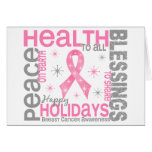 Breast Cancer Christmas 4 Holiday Snowflakes Greeting Card