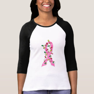 Breast Cancer Christmas Lights Ribbon T-Shirt