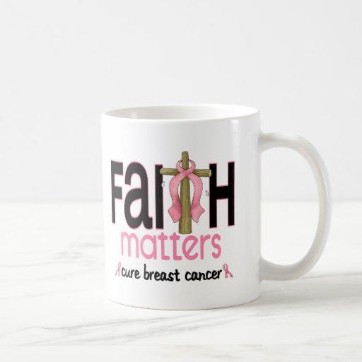 Breast Cancer Faith Matters Cross 1 Mugs