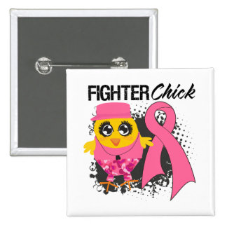 Breast Cancer Fighter Chick Grunge 15 Cm Square Badge