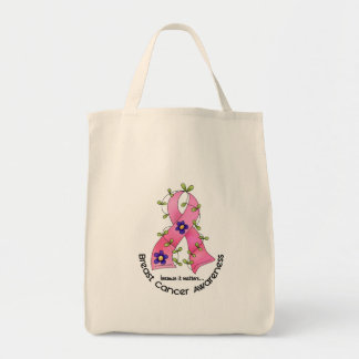 BREAST CANCER Flower Ribbon 1 Tote Bag