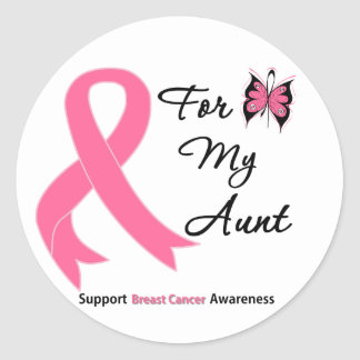 Breast Cancer For My Aunt Round Sticker