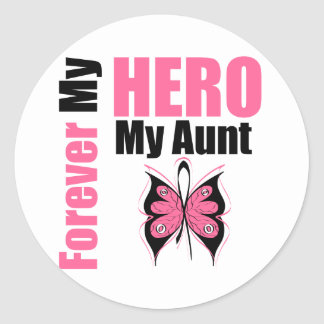 Breast Cancer Forever My Hero My Aunt Round Sticker