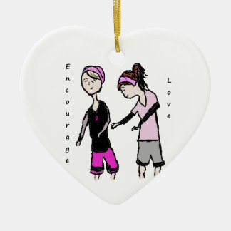 Breast Cancer Friendship Encouragement Ceramic Heart Decoration