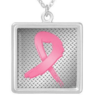 Breast Cancer Grunge Ribbon Metal Style Custom Jewelry