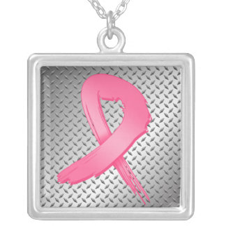 Breast Cancer Grunge Ribbon Metal Style Square Pendant Necklace