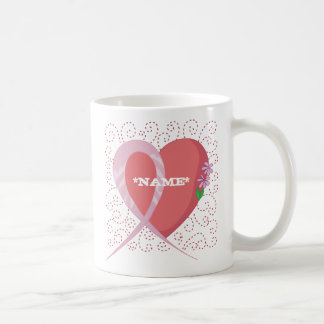 Breast Cancer Heart Customizable Mug