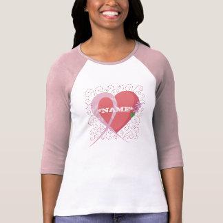 Breast Cancer Heart Customized Raglan T-Shirt