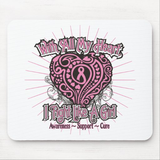 Breast Cancer Heart I Fight Like A Girl Mouse Pads