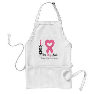Breast Cancer Heart Ribbon For My Aunt Apron