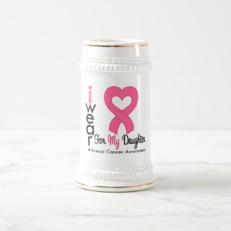 Breast Cancer Heart Ribbon For My Daughter Coffee Mugs