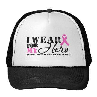 Breast Cancer Hero Pink Ribbon Mesh Hat