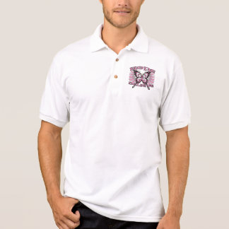 Breast Cancer Hope Believe Butterfly Polo Shirt
