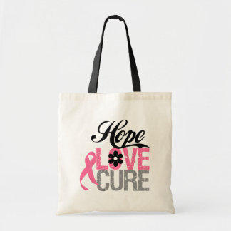 Breast Cancer HOPE LOVE CURE Gifts Budget Tote Bag