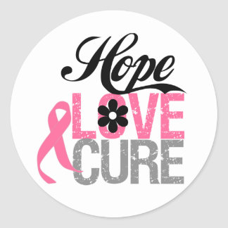 Breast Cancer HOPE LOVE CURE Gifts Round Stickers