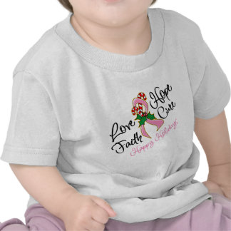 Breast Cancer Hope Love Cure Happy Holidays Tee Shirts