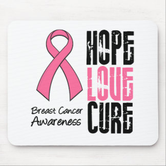 Breast Cancer Hope Love Cure Ribbon Mouse Mat