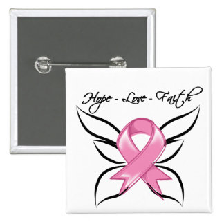 Breast Cancer Hope Love Faith 15 Cm Square Badge