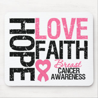 Breast Cancer Hope Love Faith Mouse Pads