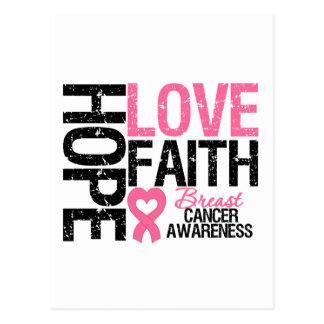 Breast Cancer Hope Love Faith Postcard