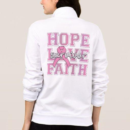 Breast Cancer Hope Love Faith Survivor Printed Jacket