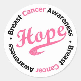 Breast Cancer Hope Sporty Round Sticker