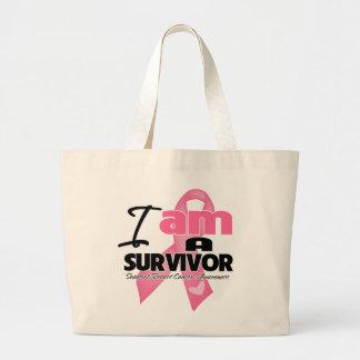 Breast Cancer - I am a Survivor Jumbo Tote Bag