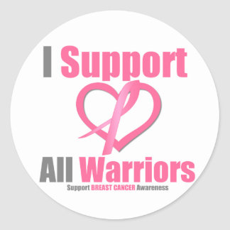 Breast Cancer I Support All Warriors Round Sticker
