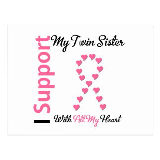 Breast Cancer I Support My Twin Sister Postcard