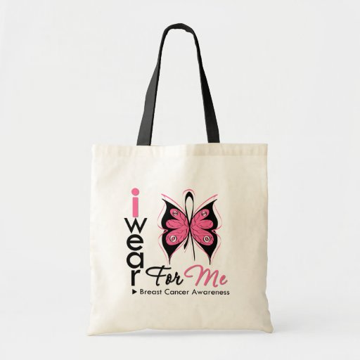 Breast Cancer I Wear Butterfly Pink Ribbon For Me Bag