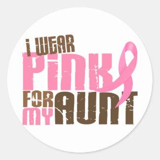 Breast Cancer I WEAR PINK FOR MY AUNT 6.3 Round Sticker