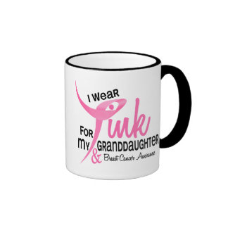 BREAST CANCER I Wear Pink For My Granddaughter 41 Ringer Coffee Mug