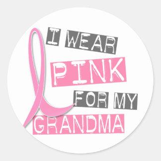 Breast Cancer I Wear Pink For My Grandma 37 Round Sticker