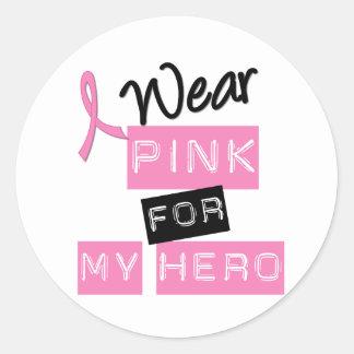 Breast Cancer I Wear Pink For My Hero Round Sticker
