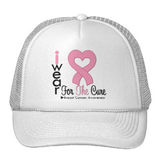Breast Cancer I Wear Pink Ribbon For The Cure Trucker Hat