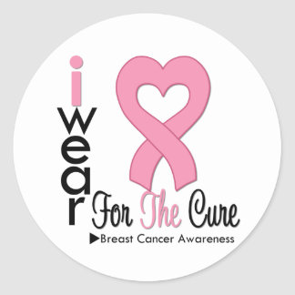 Breast Cancer I Wear Pink Ribbon For The Cure Round Sticker