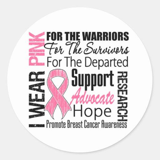 Breast Cancer I Wear Pink Ribbon TRIBUTE Round Sticker