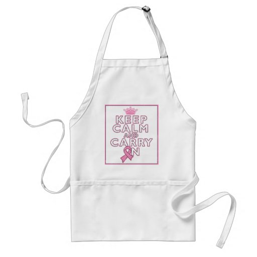 Breast Cancer Keep Calm and Carry On Apron
