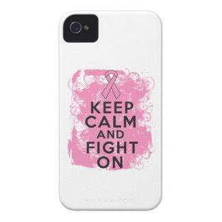 Breast Cancer Keep Calm and Fight On.png Case-Mate iPhone 4 Cases